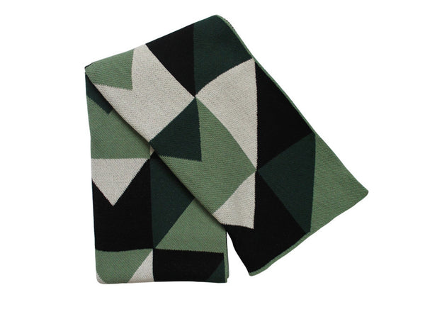 Happy Habitat - Angles ThrowGreen Black - BEDBATH - Blanket - Throw Blanket - Modern Anthology-