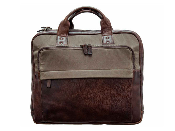 Moore & Giles - Jay Briefcase Canvas & Leather - MOORE & GILES - Modern Anthology-