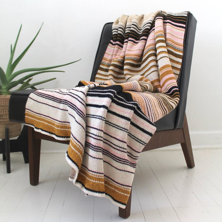 Ombre Stripes Blanket Gold Black Linen