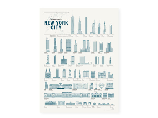 Pop Chart Labs - Structures of New York City Poster - Home - Decor - Artwork Print - Modern Anthology-