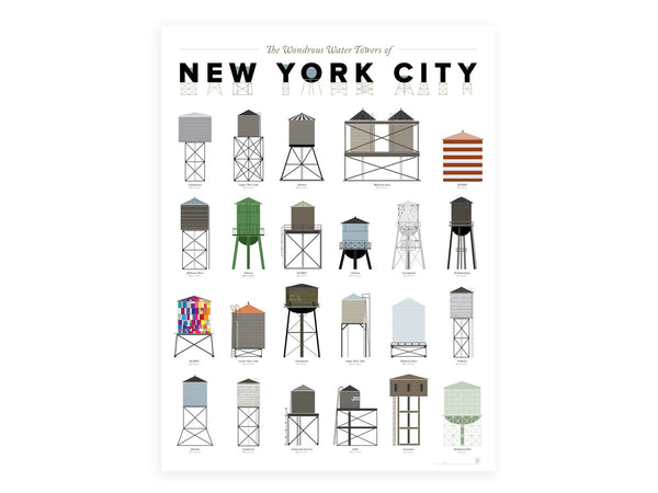 Pop Chart Labs - NYC Water Towers Poster - Home - Decor - Artwork Print - Modern Anthology-