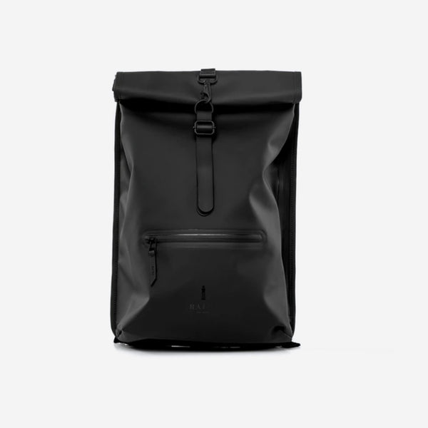 Rains - Rains Roll Top Rucksack Backpack, Black - Personal Accessories - Bag - Backpack - Modern Anthology-