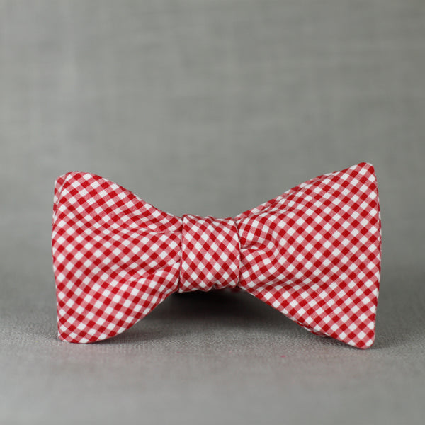 classic red & white mini gingham self tie bow tie