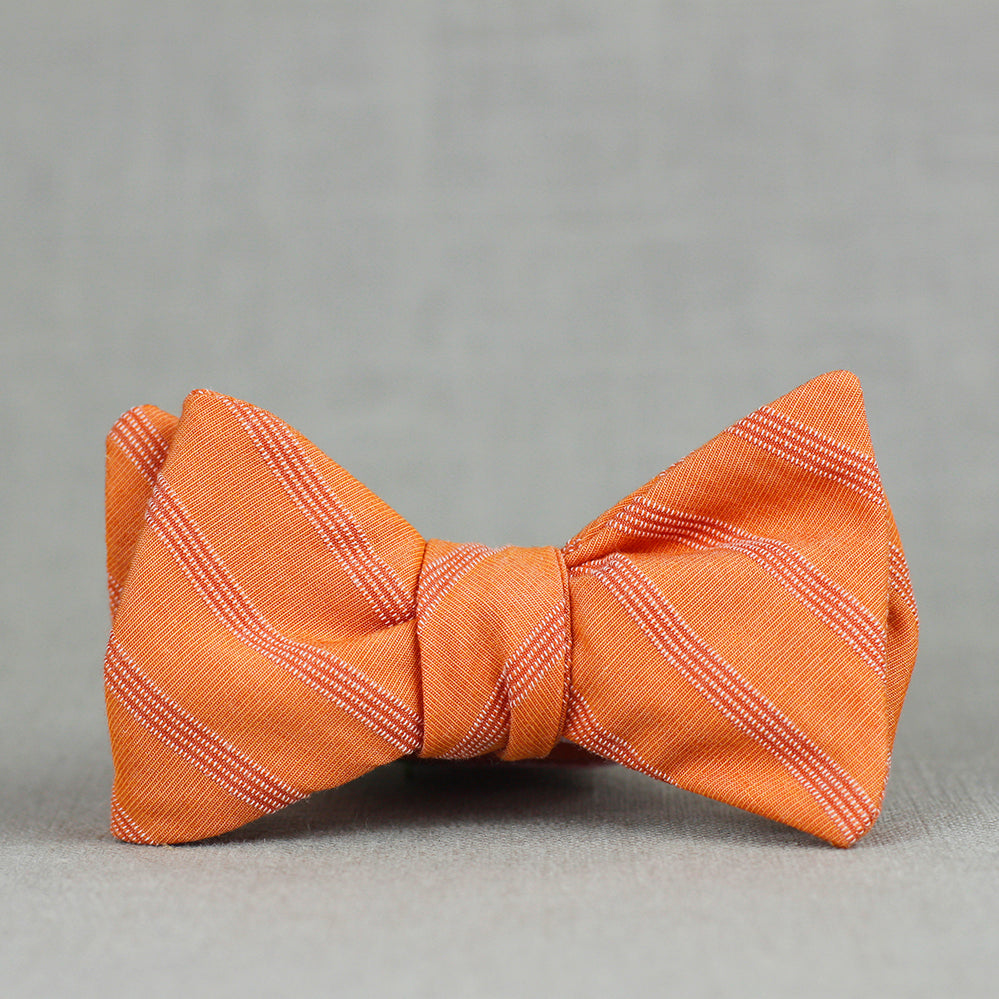 orange subtle stripe bow tie