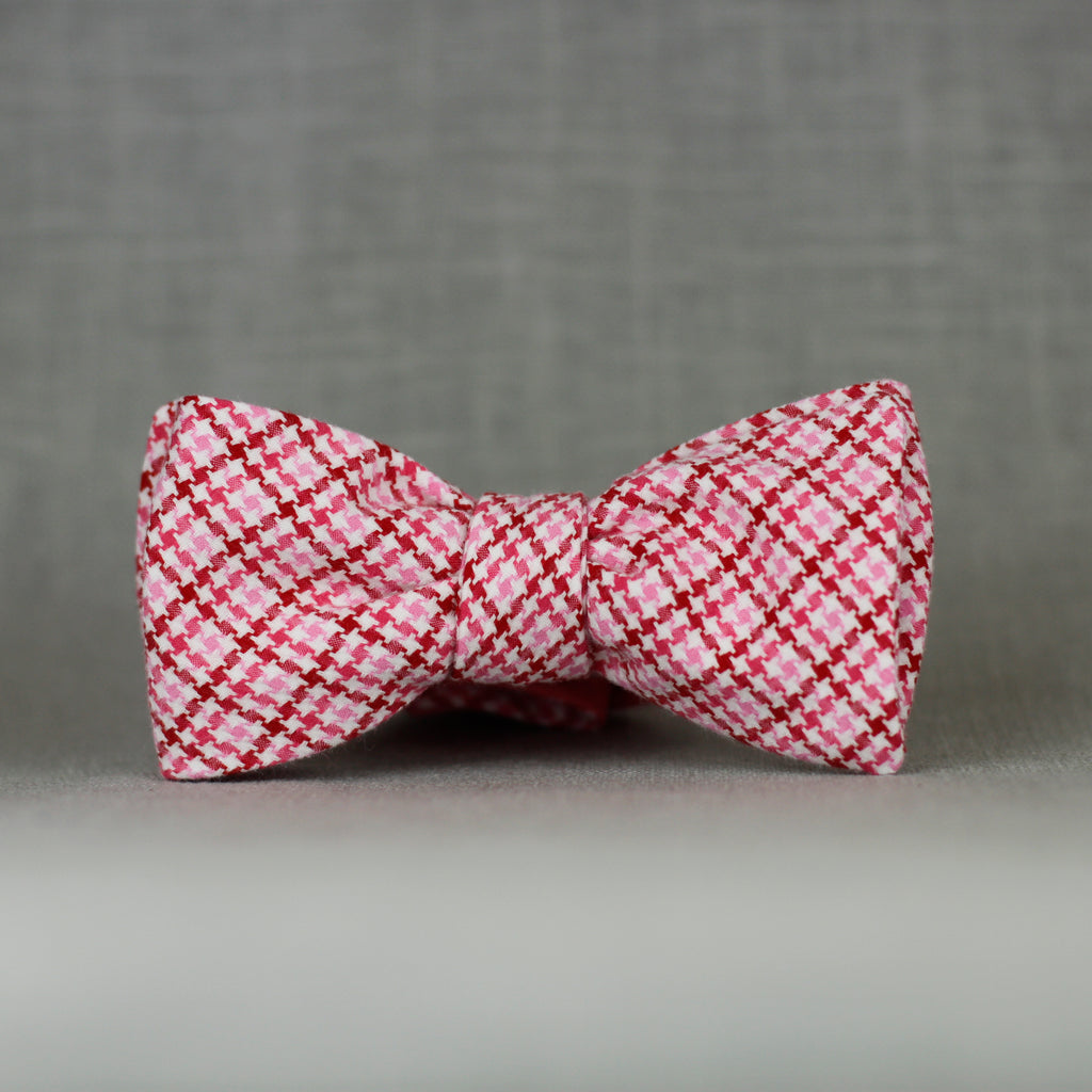 pink & red tweed self tie bow tie