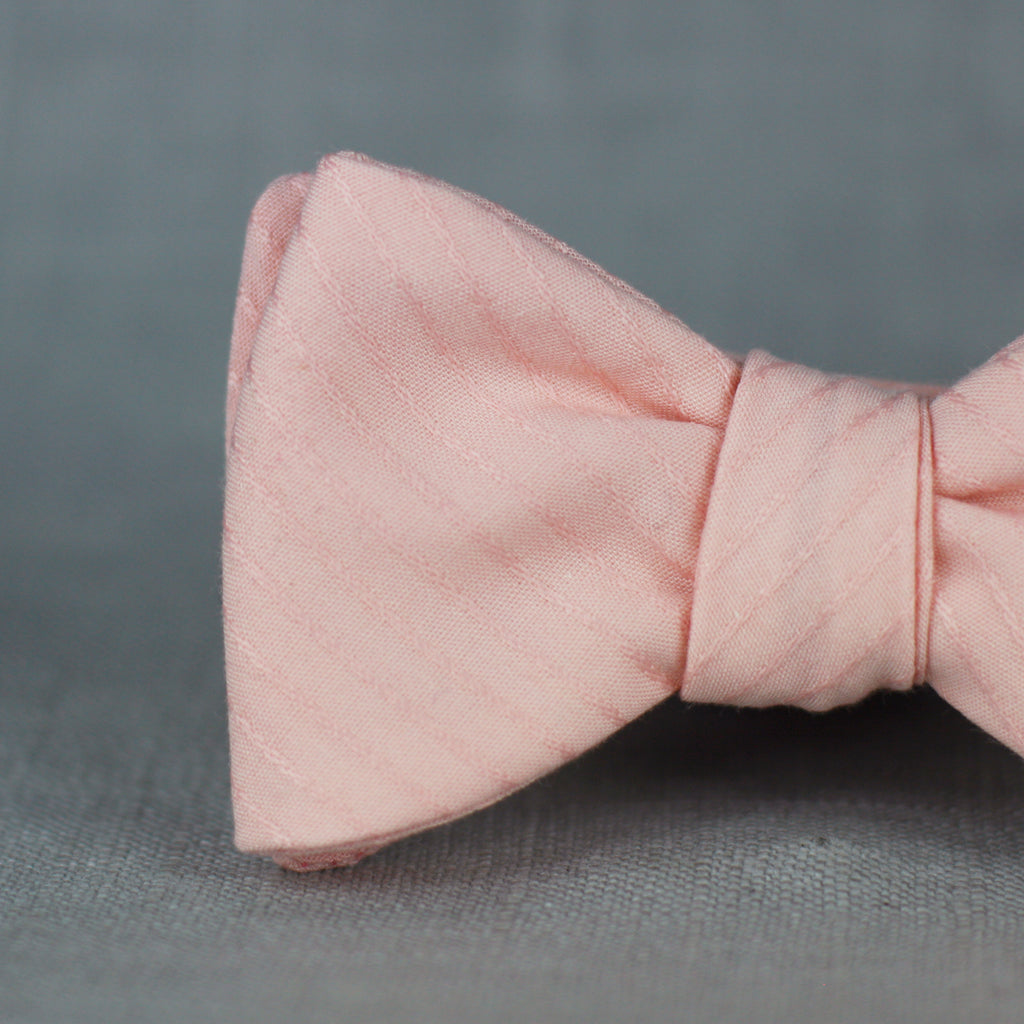 peachy pinstripe self tie bow tie