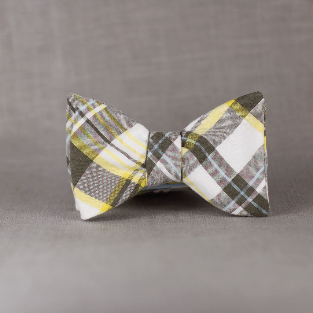 yellow & grey plaid bow tie