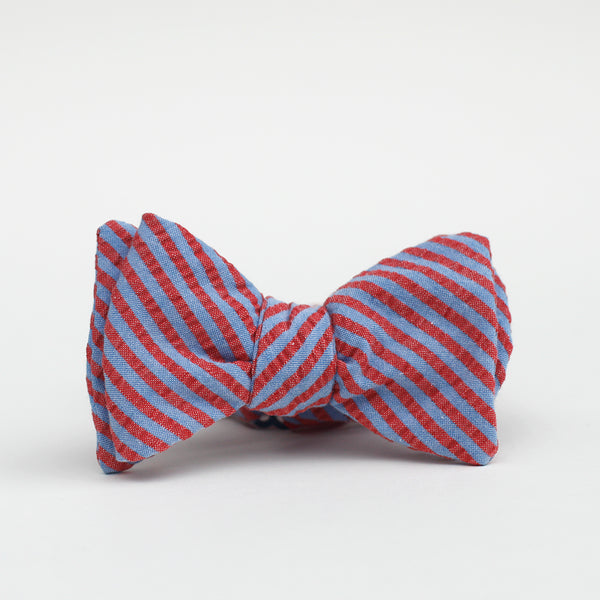 red and blue striped seersucker bow tie