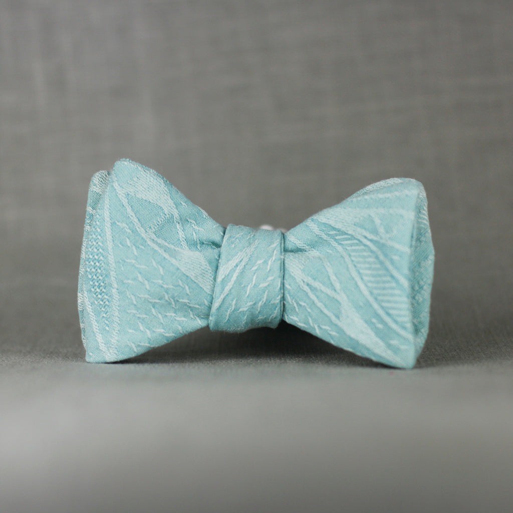 robins egg blue silk self tie bow tie