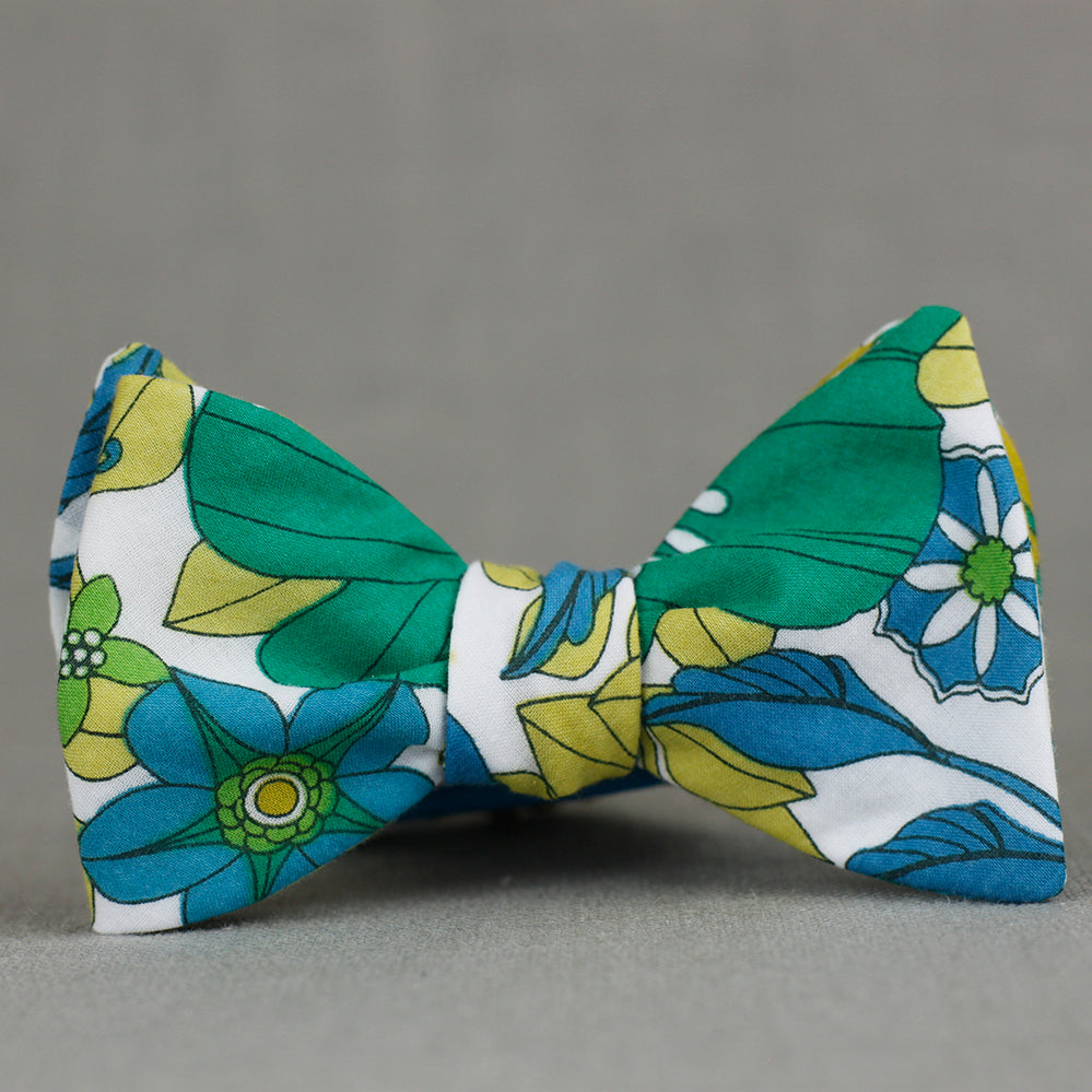 emerald, kelly, chartreuse, and teal floral bow tie