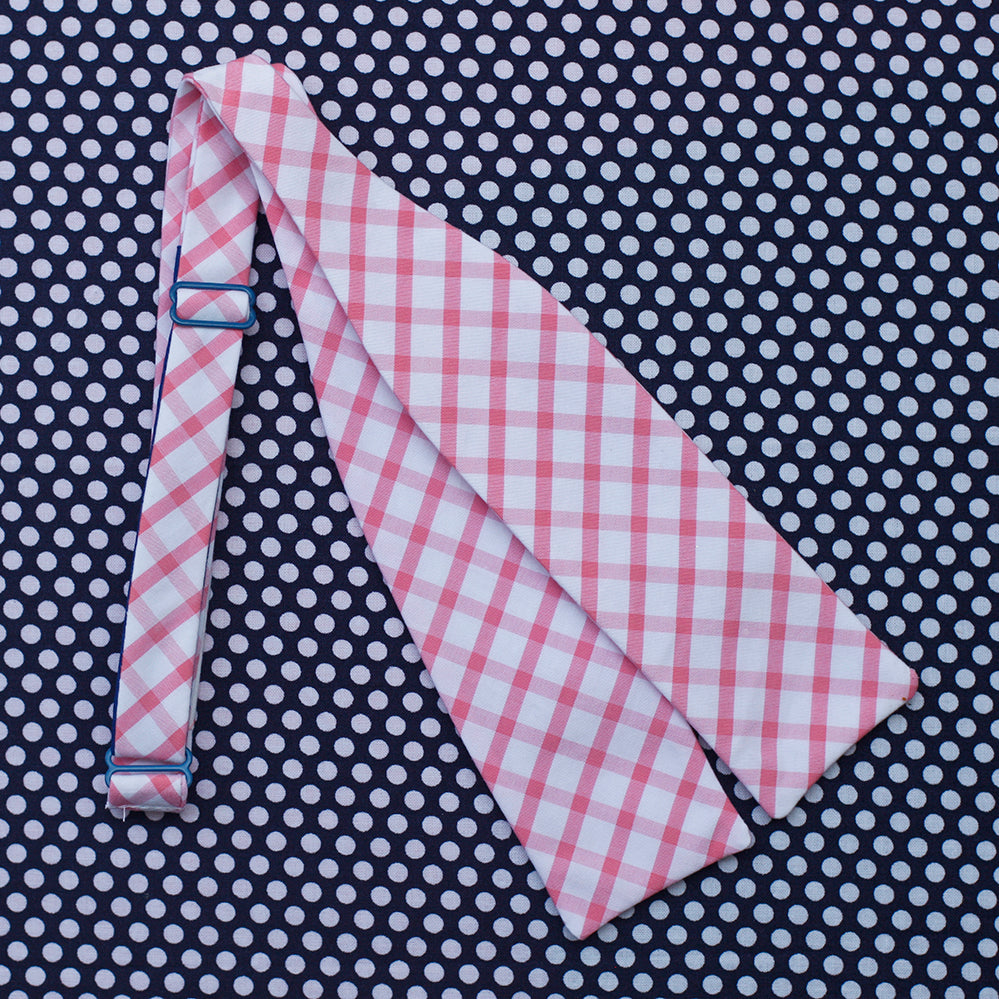 bubblegum pink windowpane plaid bow tie