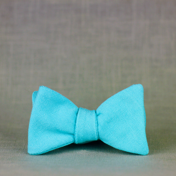 aqua solid cotton bow tie