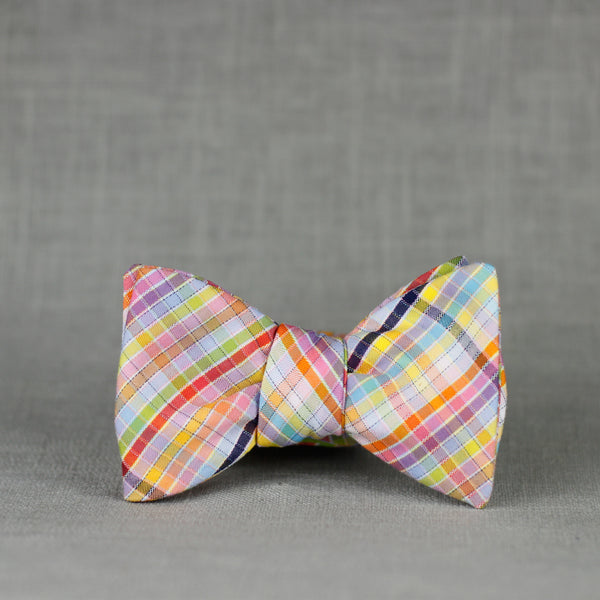 luckiest rainbow plaid bow tie