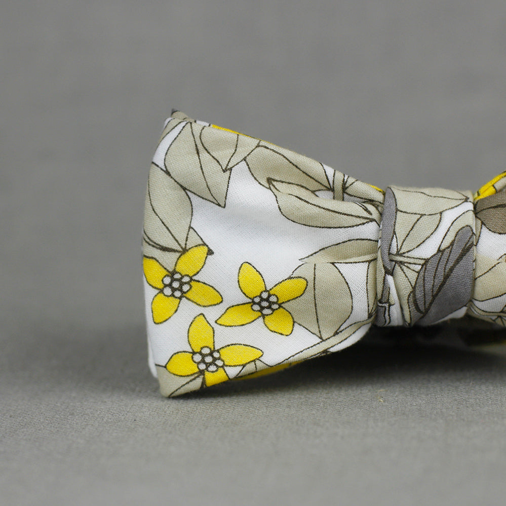 yellow & tan floral bow tie