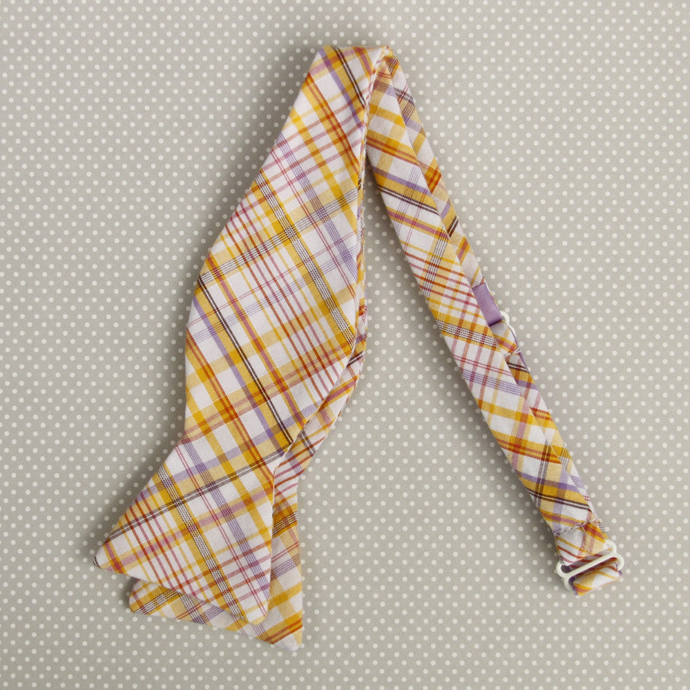gold & lilac plaid bow tie
