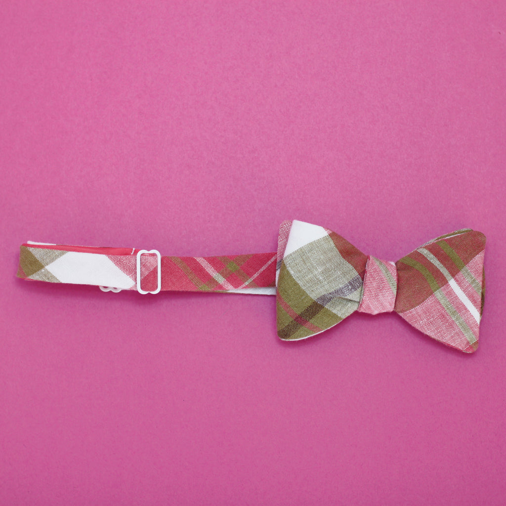 magenta & pea soup plaid linen bow tie