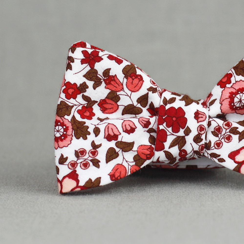 red, salmon, blush, and chocolate floral bow tie