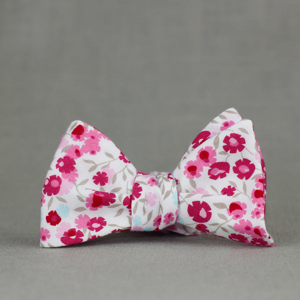 fuchsia, ballerina pink, ice blue, and taupe floral bow tie
