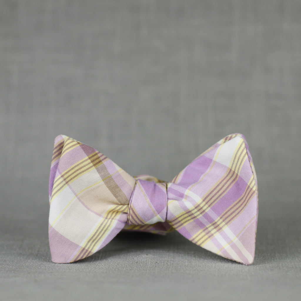 lilac & gold plaid bow tie