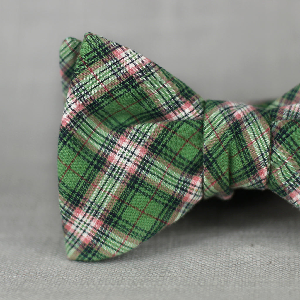 olive green & salmon plaid bow tie