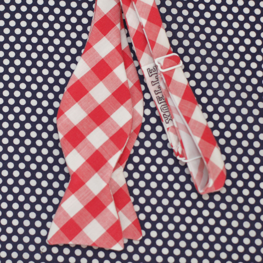 red & white mini gingham self tie bow tie