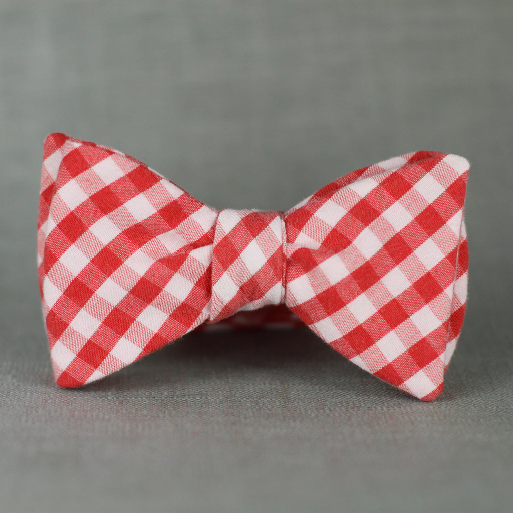 faded red & white mini gingham self tie bow tie