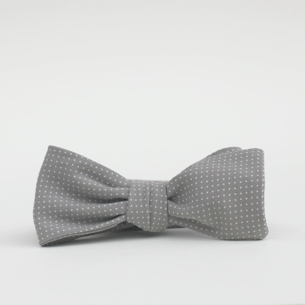 grey polka dot bow tie