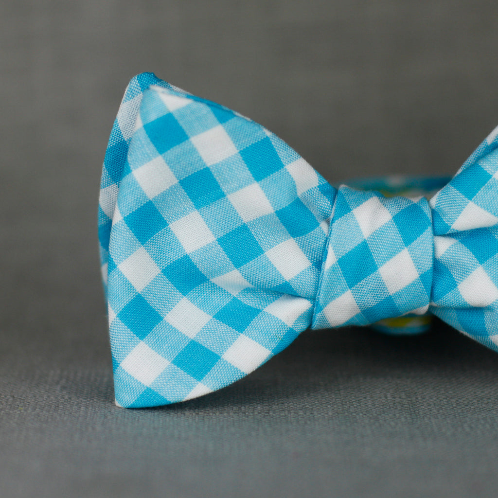 aqua and white gingham bow tie