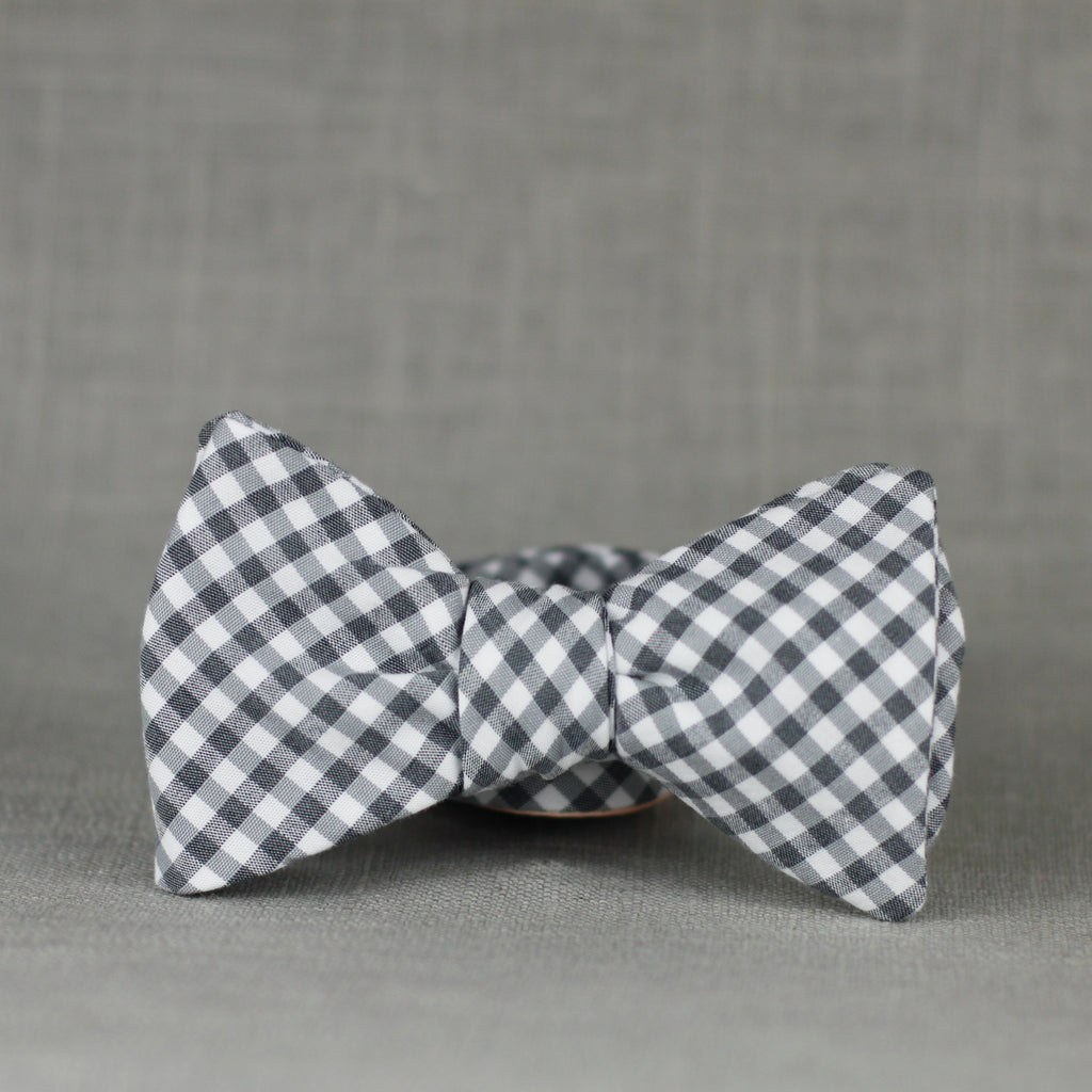 gray gingham bow tie