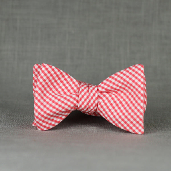 coral micro gingham bow tie