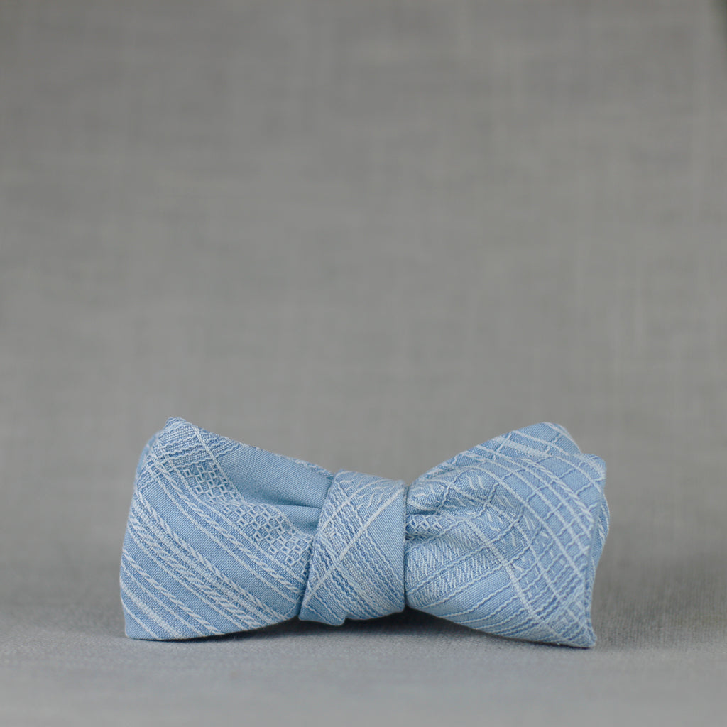 sky blue silk textured plaid bow tie