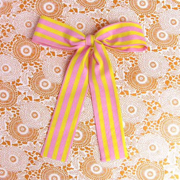 pink & yellow striped lady bow