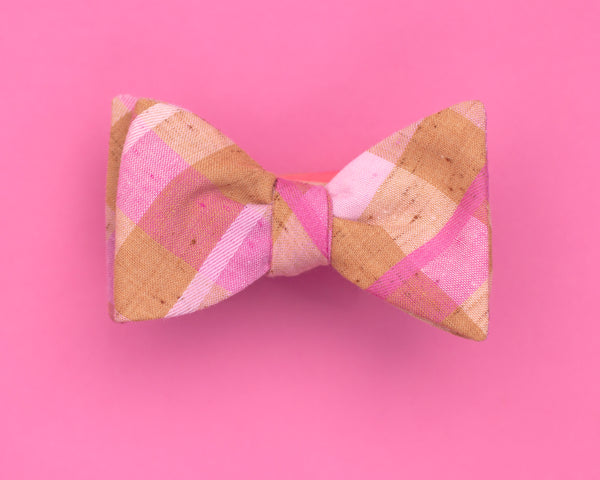 neutral & neon plaid bow tie
