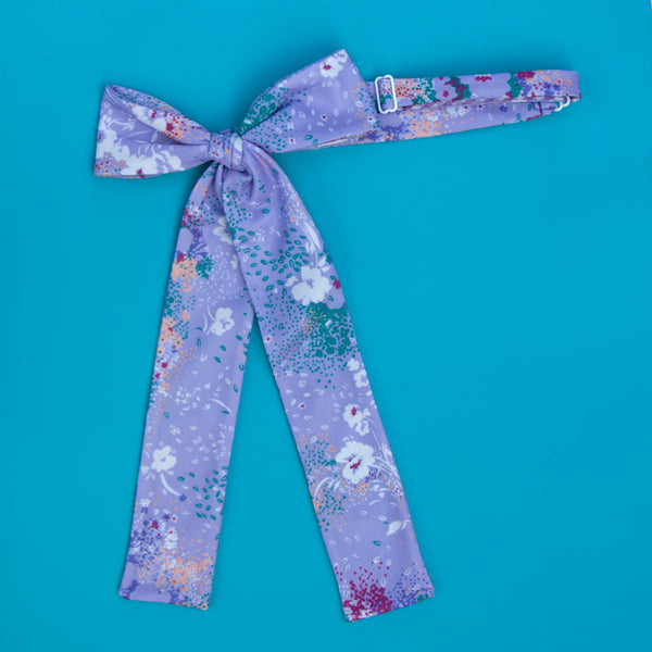 lilac floral ladies pussy bow