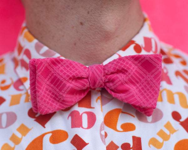 monochromatic magenta plaid bow tie