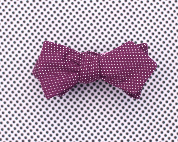 maroon micro polka dot diamond point bow tie