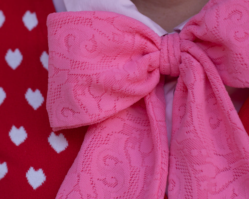 oversize bubblegum pink lacy pussy bow tie