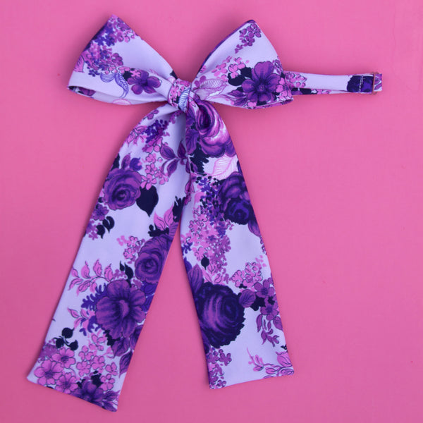 luxe floral violet pussy bow tie