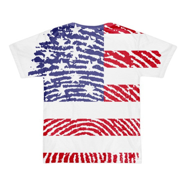 USA Fingerprint Flag Short Sleeve American Apparel T-Shirt - Made In The USA