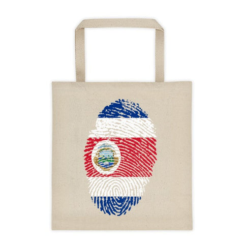 Costa Rican Fingerprint Flag Tote Bag - 12 oz