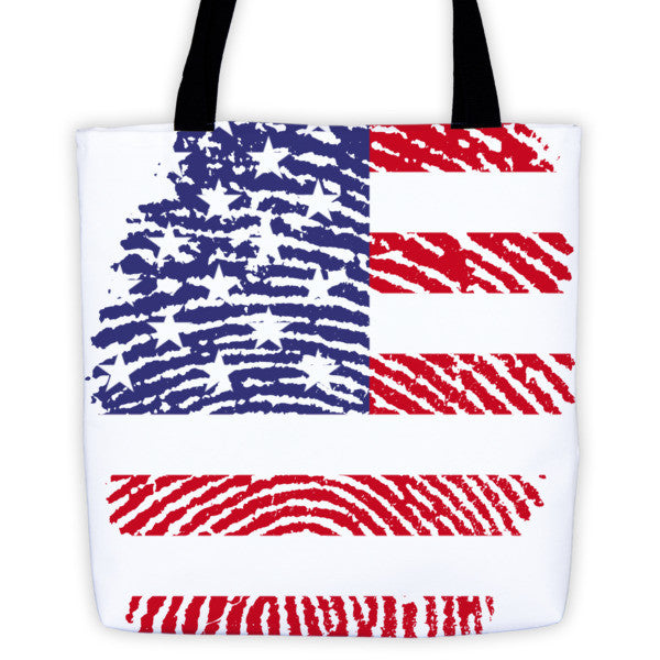 USA Fingerprint Flag Tote Bag - Made in The USA
