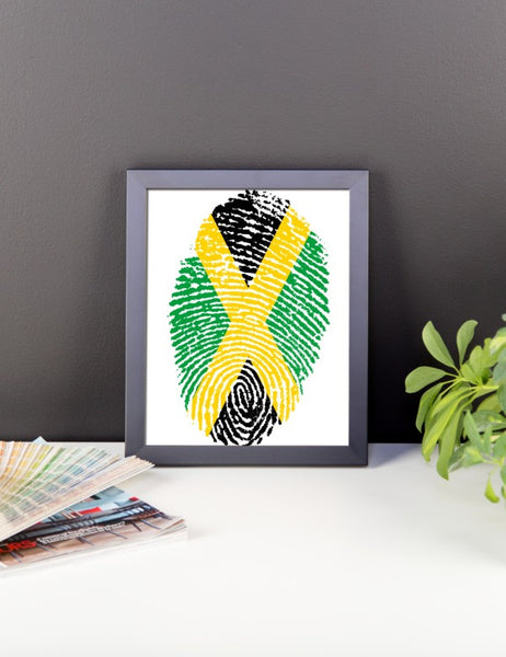 Jamaican Fingerprint Flag Framed Poster - Various Sizes