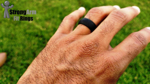 2 Silicone Wedding Rings Hypoallergenic 9mm Band Black & Grey Sizes 8 9 10 11 12