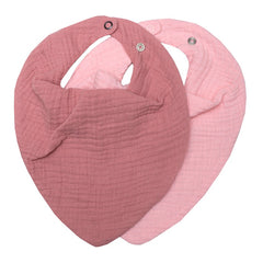 Muslin slefsmekkir, 2 stk - blush/dark rose