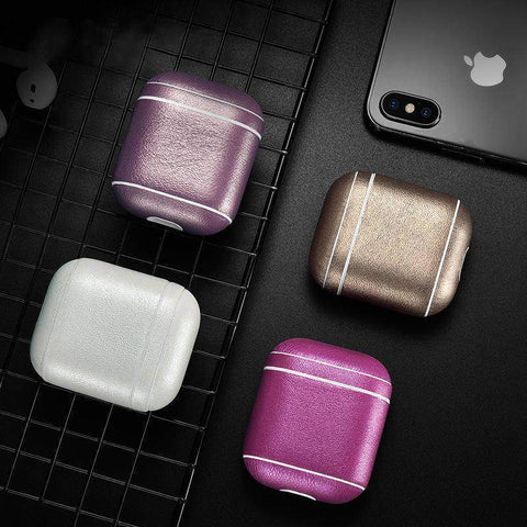 Leather Earphone Case For Apple Airpods - Dust-proof Protective Cover