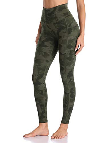 Image of Colorfulkoala Women's High Waisted Yoga Pants 7/8 Length Leggings with Pockets (XS, Army Green Splinter Camo)