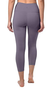 "90 Degree By Reflex High Waist Squat Proof Capris - 22"" Interlink Workout Capris - Frosted Grape - Medium - FitnessGearUSA.Com"
