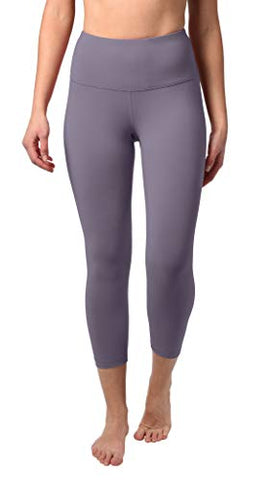 "90 Degree By Reflex High Waist Squat Proof Capris - 22"" Interlink Workout Capris - Frosted Grape - Medium - Fitness Gear"