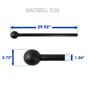 Yes4All Steel Mace Bell for Strength Training, Shoulder, Grips & Forearms Workouts - 5 lb Macebell, Black - FitnessGearUSA.Com