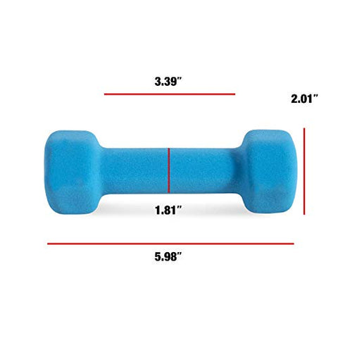 CAP Barbell Neoprene Coated Dumbbell Weights (Pair), 2 lb/Small